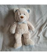 Carters Stuffed Plush Teddy Bear Cream Beige Ivory Tan Blue Ear Velvet Bow - $79.19