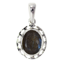 Labradorite Cut Oval 9x7 MM Bezel Set Gemstone 925 Sterling Silver Pendant - $13.67