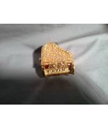 Pink Crystal Red Enamel Gold Tn Piano Decorative trinket box - $34.99