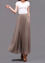 Taupe Maxi Chiffon Skirt Women Chiffon Maxi Skirts High Waist Bridesmaid Skirts image 3