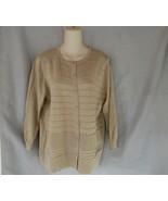 Cable & Gauge cardigan sweater XL beige gold metallic 3/4 sleeves - $15.63