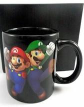 Super Mario Ceramic Coffee Mug Mario Luigi Black Cup Limited Edition Loo... - $18.80