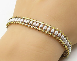 925 Sterling Silver - Vintage Two-Tone Railroad Chain Bracelet - B3843 - $53.91