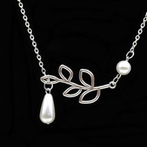 Perlen und Blatt Branch Halskette Hänger Charm Silberfarben Kette Neu - $6.87