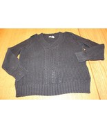 W10959 womens DKNY JEANS black, heavy knit, v-neck SWEATER, large - $11.65