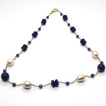 SILVER 925 NECKLACE, YELLOW, LAPIS LAZULI BLUE DISCO AND SPHERES, PEARLS, 45 CM image 3
