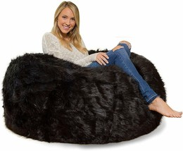 Leather Fur U and I Design Bean Bag and Cover, XXXL/9mm (Black) Free Shipping image 1