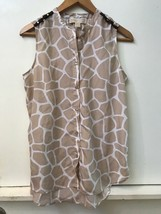 MICHAEL Michael Kors Womens Tan Giraffe Print Sleeveless Button Down Top Size 6 - $16.95