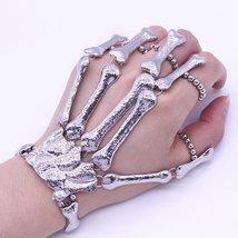 Finger Bracelet Gothic Skull Skeleton Bone Hand Finger Bracelet - $10.50