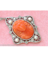 ANTIQUE .50ctw DIAMOND CARVED RED CORAL BUST HEAD PORTRAIT CAMEO PENDANT... - £1,816.33 GBP