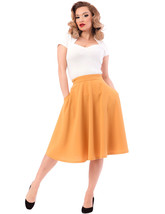 Mustard High Waist Full Skirt w Pockets - S to 2X - Vintage Inspired at ... - $50.00