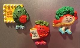 3 Vtg Hallmark Magnets Funny Farm Tomato Radish Artichok Anthropomorphic Veggies - $26.66
