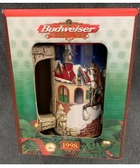 1998 BUDWEISER Christmas Grant's Farm Holiday Beer Stein CS343 NEW In Bo... - $17.81