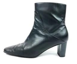 "Bijou Black Leather 2.5"" High Heel Zip Up Ankle... - $9.13"