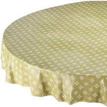 Heritage Vinyl Table Cover By Home-Style Kitchen-70ROUND-GREEN - $14.59