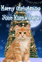 Ginger Kitten Cat Merry Christmas Personalised Greeting Card Xmas codeTM228 - $3.90
