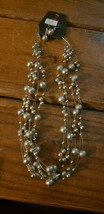 Paparazzi Short Necklace & Earring set (new) #618 STRINGS OF SILVER BEADS - $7.61