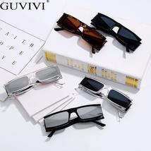 Vintage Rectangle Sunglasses Women Small Frame Mirror Sun Glasses Silver Black L image 6