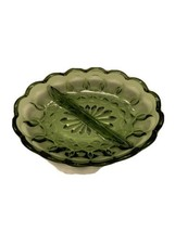 Vintage Indiana Green Glass Divided Oval Dish Candy Condiments Thumbprint Patter - $14.95