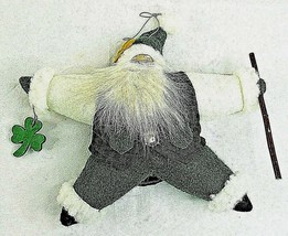 "Santa Ornament Irish Celtic Christmas Cloth Green Shamrock Star 7"" - $19.75"