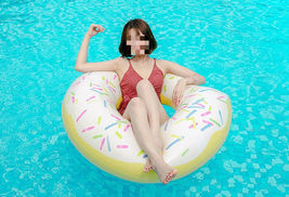 Swim About Large Donut Swim Ring Tube Pool Inflatable Floats for Adults (White) image 4