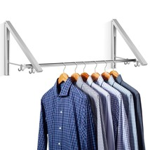 Clothes Hanging System Folding Retractable Wall Mounted Hangers Rack Alu... - £61.38 GBP