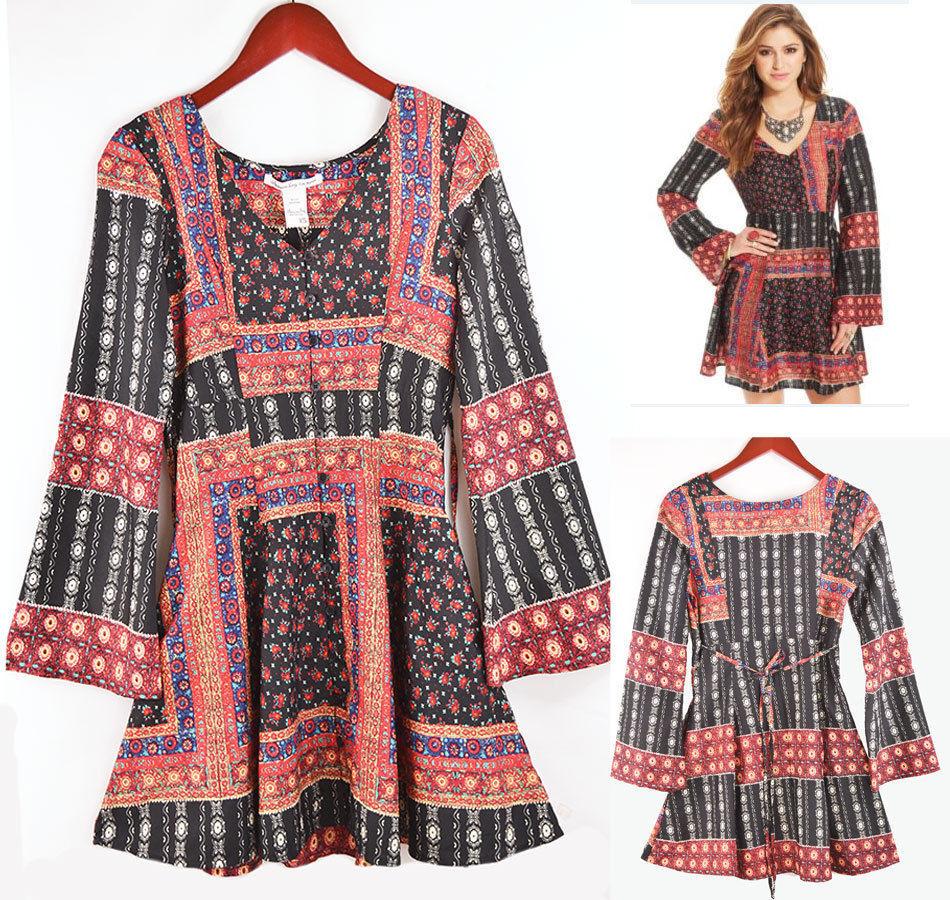 4616caa32 New XS Bohemian Short Dress AMERICAN RAG Geo Print Bell Sleeve A-Line Tunic  - $27.98