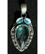Rare - Blue/Green Apatite and Sterling Silver Pendant with Blue Catseye ... - $98.00