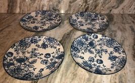 """Royal Norfolk 10 1/2"""" Dinner Plates Set Of 4 Blue/White Flower Print-NEW... - $49.38"""