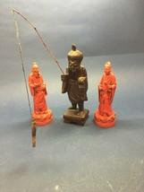 3 pcs. Vintage Red cinnabar Oriental Men wood man fishing Asian Regency MCM - $23.75