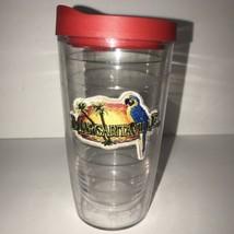 Tervis 16 oz Tumbler Margaritaville Parrot Tropical Sunset Red Lid - $11.80