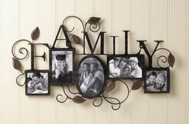 FAMILY Photo Wall Frame 5 Picture Display Rustic Metal Leaf Design - $40.49