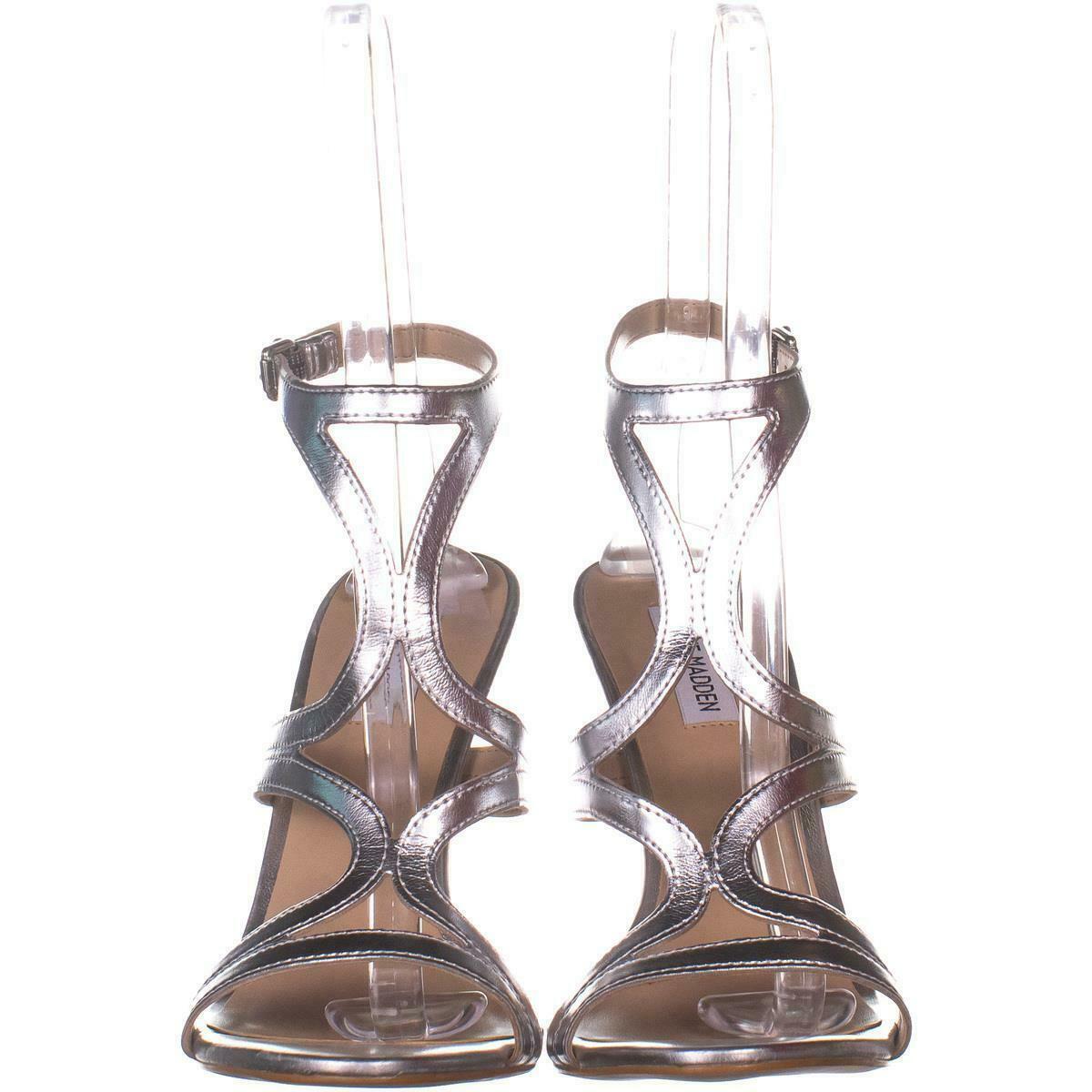 Steve Madden Sidney Ankle Strap Heeled Sandals 772, Silver, 10 US image 2