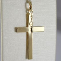 Cross Pendant Yellow Gold White 750 18K, Rectangle, Satin, Made in Italy image 3