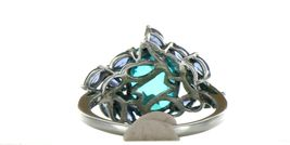 Ladies Size 7.25 Sterling Silver Blue Green Tourmaline Ring No. 2155 image 4