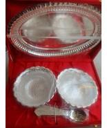 Embossed Brass Bowl Set Velvet Box Silver Plated , Best Dewali Gift - $49.50
