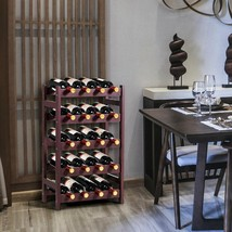 Wood Wine Rack 5-Tier Bottle Display Storage Shelf Free - £43.59 GBP