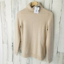 NWT $158 C by Bloomingdales 100% Cashmere Oatmeal Beige Turtleneck Sweat... - $56.02