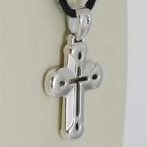 18K WHITE GOLD CROSS VERY SHINY AND LUSTER,  PERFORATED MADE IN ITALY 0.91 IN image 2