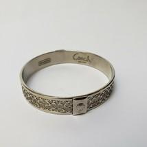 "Coach Bangle Bracelet Legacy Silver Color ""C"" Logo Embossed Metal - $39.55"