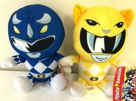 Set of 2 New Saban's Power Rangers Blue & Yellow Plush Toys. Large 10 inch. New - $29.39