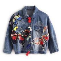 Multicolor Embroidery Butterfly Women Denim Jackets - $36.38