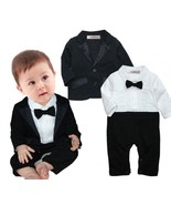 3-24 Months Baby Boys Tuxedo Wedding Romper and Jacket 2-pc Formal Wear ... - $21.99