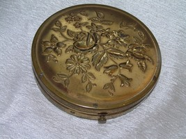 Vintage Large Floral Round Brass Powder Compact with Mirror – AS-IS  – 3... - $8.59