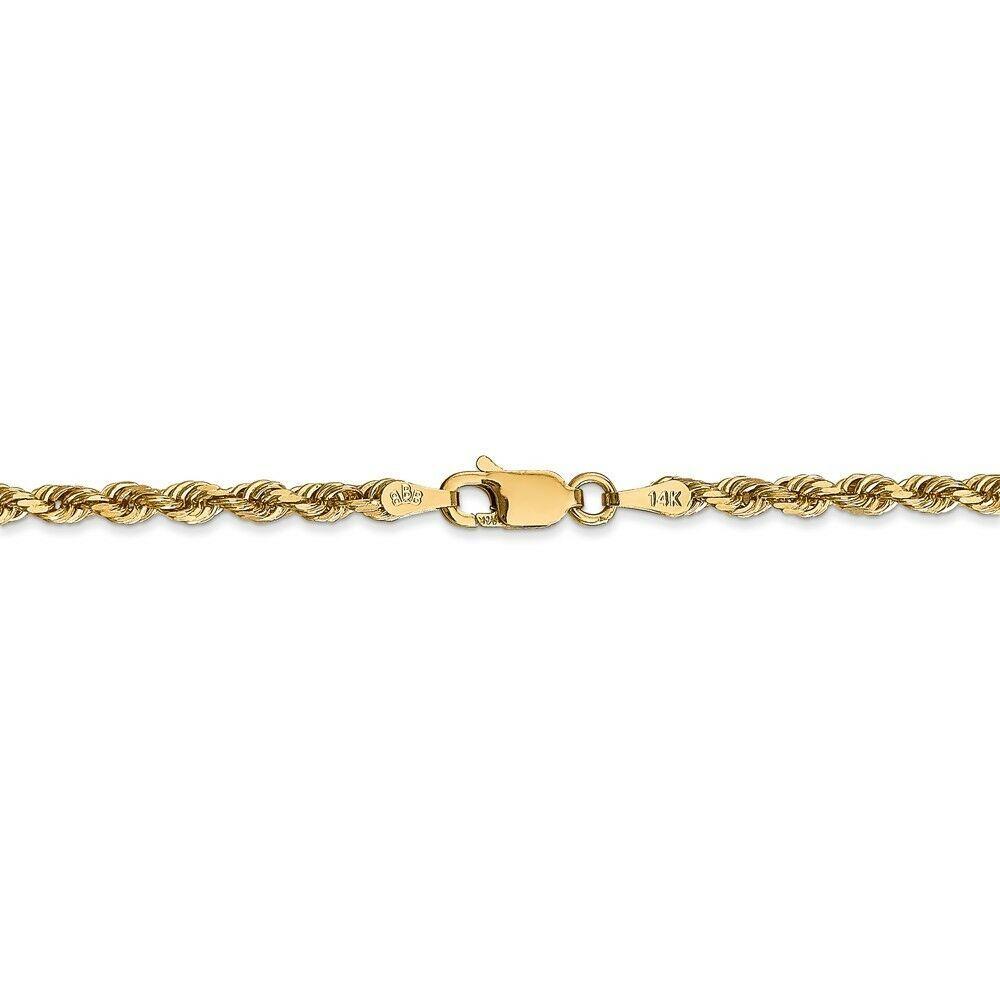 14k Yellow Gold 3.0mm Diamond-Cut Quadruple Rope Chain Bracelet / Anklet 9 Inch image 3