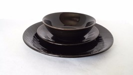3 Gibson Designs Galacor Dinner Plate Saucer Bowl  Black Brown Embossed - $22.76