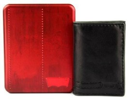 NEW LEVI'S MEN'S LEATHER TRIFOLD CREDIT CARD WALLET EMBOSSED LOGO BLACK 31LV1182 image 2
