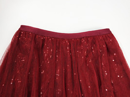 Wine Red Long Tulle Sequin Skirt High Waisted Red Christmas Holiday Skirt Outfit image 11