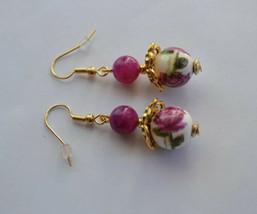 Handmade Pink rose ceramic flower gold Plated dangle Earring - $13.99