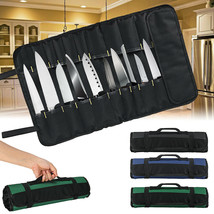 Oxford Cloth 22 Slots Pocket Chef Bag Roll Carry Case Portable Storage - $15.44
